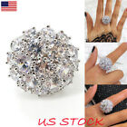 Womens Luxury Flower Full Simulation Siamond Ring Lady White Gold Plated Jewelry
