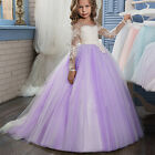 Kids Lace Flower Girl Dresses For Wedding Long Sleeve First Communion Princess