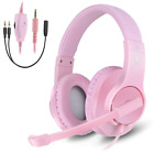 PINK Professional Gaming Headset Girls Mic Wired Stereo Headphone for PC PS3 PS4