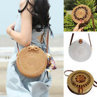Women Handwoven Round Rattan Bag Shoulder Leather Straps Natural Chic Handbag Us