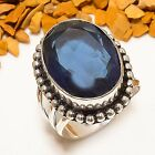 ATTRACTIVE MADGASCAR IOLITE GEMS. HANDMADE ETHNIC SILVER PLATED RING 7.5 R-498