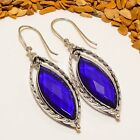"ENRAPTURING MADGASCAR SAPPHIRE GEMSTONE ETHNIC SILVER PLATED EARRING 2.29"" E-682"