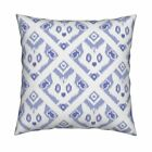 Ikat Cat Blue Fish Periwinkle Throw Pillow Cover w Optional Insert by Roostery