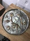 Copper Artwork Metal Tray Handmade In Isreal Giraffe, Starfish, Clam, Fish, Tree