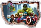 Lego Avengers Super Heros Marvel 3d Effect Smashed Wall View Poster Vinyl 468