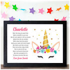 Personalised UNICORN Gifts for Girls Daughter Granddaughter Birthday Poem Gifts