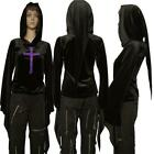 BLACK VELOUR LONG PIXIE ELONGATED SLEEVES AND HOOD EMBROIDERED GOTHIC CROSS