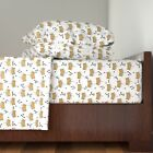 Diamonds Crown King Queen Glitter Gold 100% Cotton Sateen Sheet Set by Roostery image