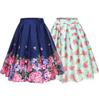 50s Vintage Floral Print Rockabilly Skirt A-line Flared Swing Pleated Midi Dress