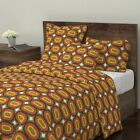 70 S Retro Disco Large Scale Vintage Avocado Sateen Duvet Cover by Roostery image