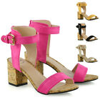 Womens Ankle Strap Sandals Block Mid Low Cork Heel Ladies Open Toe Shoes Size