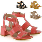 New Womens Strappy Sandals Low Block Heel Ladies Open Toe Caged Shoes Size