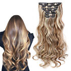 16 Clips Full Head Curly Synthetic Clip In Hair Extensions Hairpiece Ombre Color