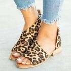 Women Leopard Pee Toes Sandals Summer Shoes Low Heel Flats Pumps Flip Flops Shoe