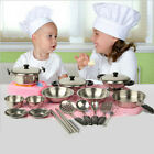 Stainless Steel Pots Pans Cookware Miniature Toy Pretend Play Gift For Kids US