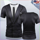 Fake Suit Tie Tuxedo Funny 3D Print T-Shirt Mens Short Sleeve Casual Tee Tops