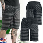 Men's USA Flag Surf Boardshorts Board Shorts Sports Beach Swim Pants Trunks US