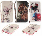 PU Leather Wallet Case Flip Cover Card Magnolia Spiderweb Catching Dog for Phone