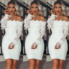 Women Bodycon Lace Dress Evening Party Cocktail Bridesmaid Wedding Mini Dress