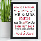 Personalised Wedding Day Gifts for Mr and Mrs Bride and Groom Tied The Knot Gift