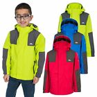 Trespass Farpost Boys Waterproof Jacket Kids Rain Coat With Detachable Hood