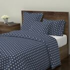 Glitter Dots Polka Dots Navy Silver Sparkly Sateen Duvet Cover by Roostery image