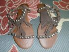 Ibiza Jeffrey Campell  HandmadeFringe Sandals size 7 in brown  and silver studs