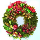 SALE! Floral Wreath Christmas Holiday SHATTERPROOF Red Lime Green IN/OUTDOOR