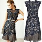 Reiss June Navy Lace Embroidered Floral Mesh Cocktail Party Dress RRP £250 4-14