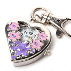 Heart Shape Quartz Watch Flowers Pocket Watches Stainless Steel Key Ring Chain B