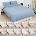 3pcs Washed Cotton Duvet Cover Sets Zipper Closure Bedding Set with Pillow shams image