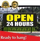 OPEN 24 HOURS Banner Vinyl / Mesh Banner Sign Overnight Shop Cafe Around Clock