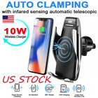 US Wireless Car Charging Auto Clamping Smart Sensor Charger Phone Holder 10W New