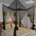Insect Mosquito Net Bed CanopyLuxury 4 Corner Square Princess Fly Screen Indoor image