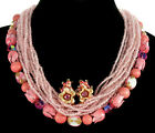 VTG 50'S ROBERT TREMENDOUS PINK ENAMEL & GLASS NECKLACE, EARRINGS