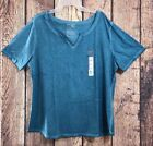 Terra and Sky Notch Plus Size Tee Shirt Top Cool Water Color Size 1X(16W-18W)