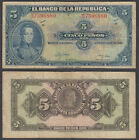 Colombia 5 Pesos 1949 (F-VF) Condition Banknote P-389 Series M