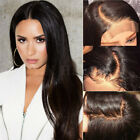 Natural Dark  Brown Lace Front Wig Indian Remy Human Hair Pre Plucked Hairline V