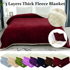 Reversible 3 Layers Textured Soft Warm Thick Fleece Blanket Twin/Full/Queen Size image