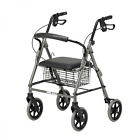 Homecraft Four Wheeled Rollator Walker With Cable Brakes - Grey or Red