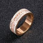 6.5mm Rose Gold Titanium Steel AAA White CZ Band Women's Wedding Rings Size 6-9