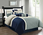 Chezmoi Collection 7pc Medallion Quilted Patchwork Comforter Set Navy Blue/Gray image