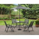 6-piece Patio Dining Set Folding Chairs Table Decks With Umbrella Garden Furnitu