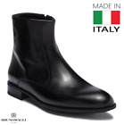 $450 Bruno Magli Men's Black Leather Zip Boots - Made in Italy