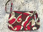 JU JU BEE red Brown Paisley Canvas Wristlet Wallet Small Bag