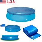 8/10/12/15ft Round Swimming Pool Cover Inflatable Keep Clean For Frame Pool-Blue