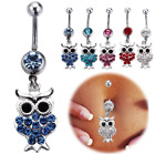 Owl Belly Button Bars Body Piercing Dangle Drop Navel Stainless Steel Silver Bar