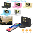 QI 10W Fast Wireless Charger+ Alarm Clock+ Night Lamp For iPhone X/8 Samsung S9