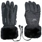 Trespass Yanki Womens Mens Ski Winter Gloves With Faux Fur in Black For Adults