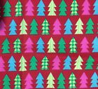 Christmas Tress on Red Cotton Fabric - 1 Yard x 44""